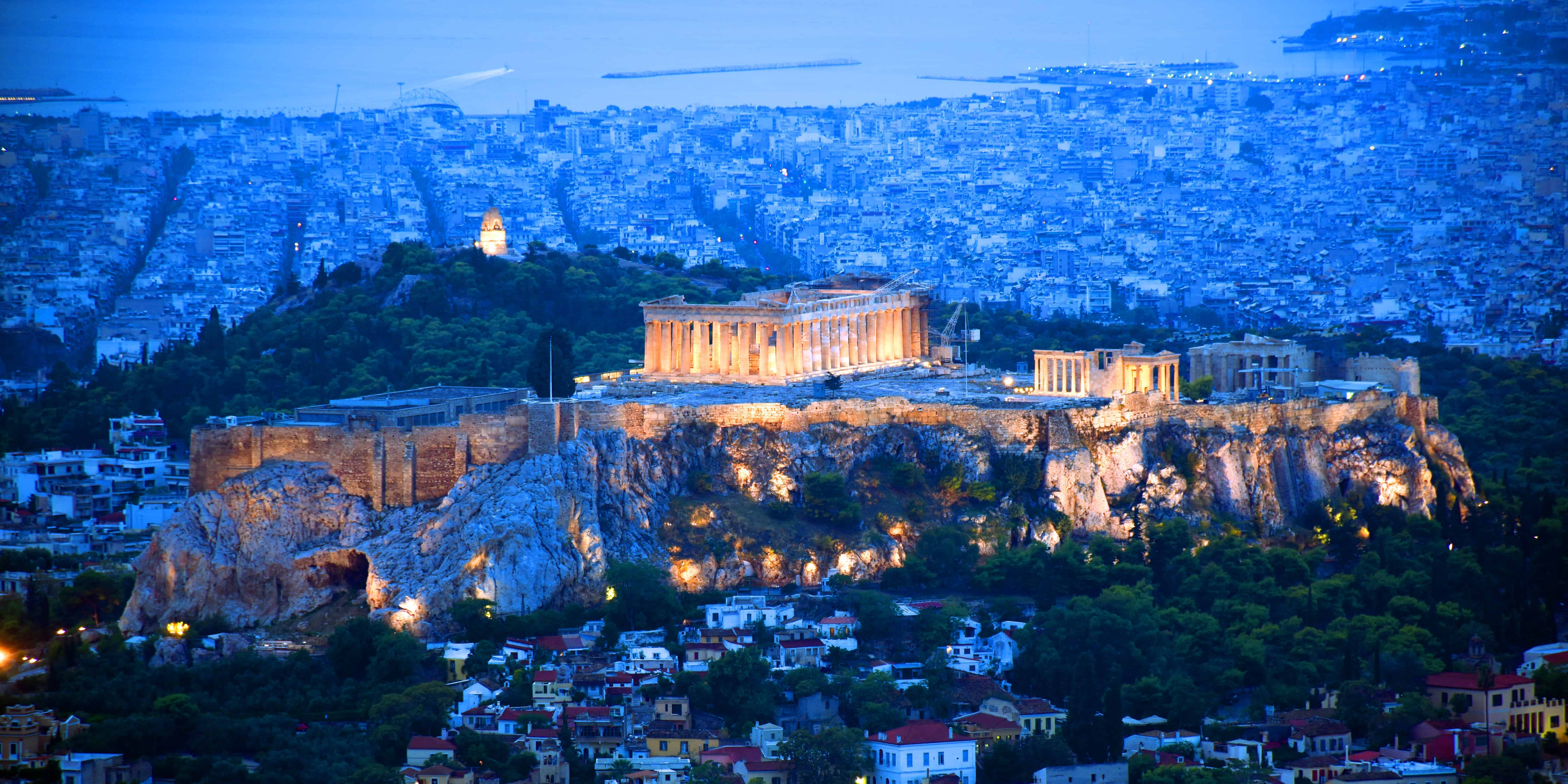 Acropolis at dawn from Mt Lycabettus