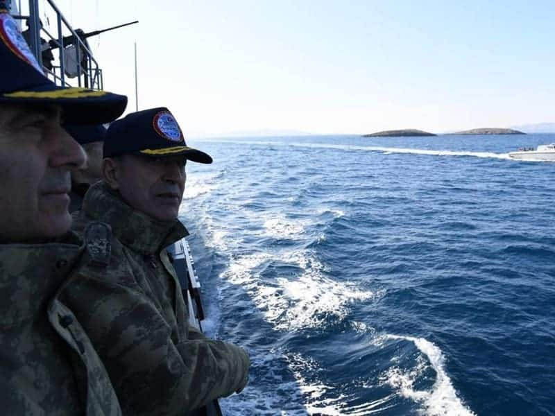 Turkish military ship chased out from Imia by Greek military 10