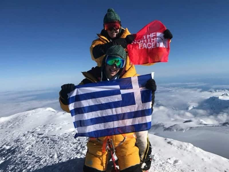 Greek girls plant Greek flag on top of the world 40