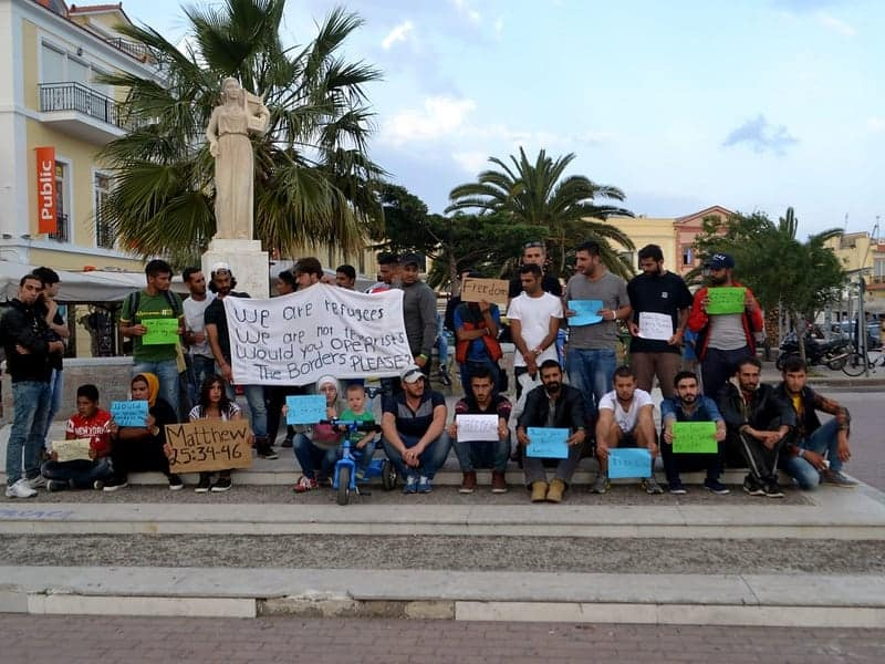 Afghan refugees on Lesvos protest over asylum applications 1