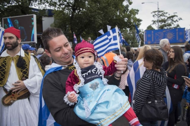 picture of baby in greek outfit.