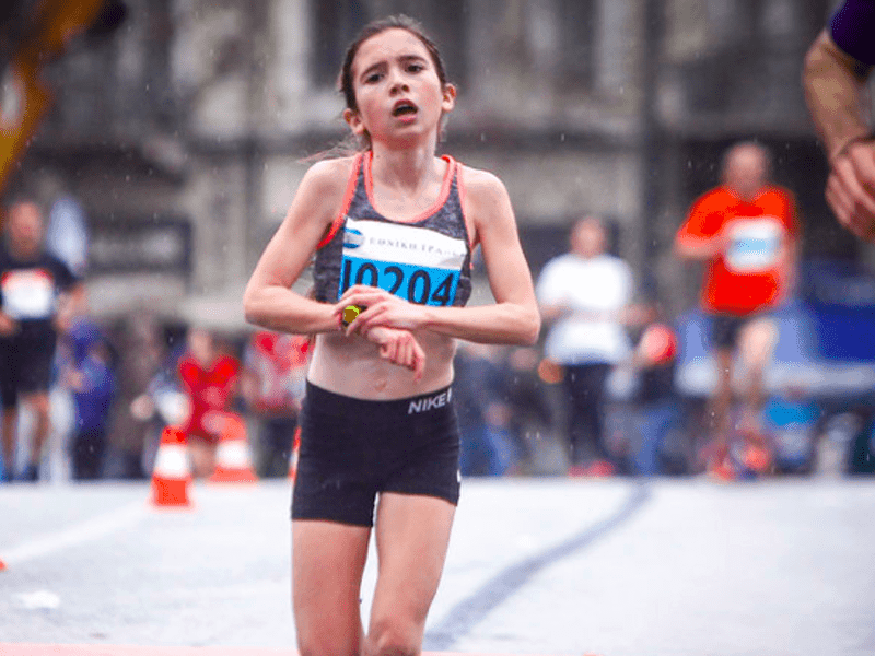 12-year-old Glykeria stole the show, placing 3rd in Athens Half Marathon 1