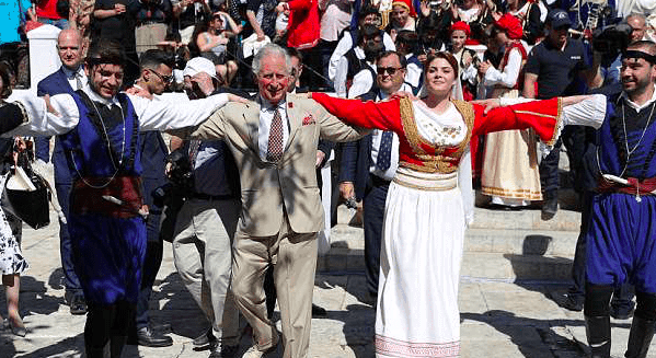 Prince Charles Greek dancing