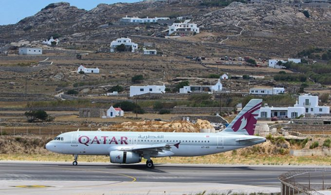 Qatar airways into Mykonos