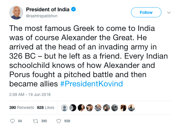 "Indian Presidents says ""Most famous Greek to come to India"