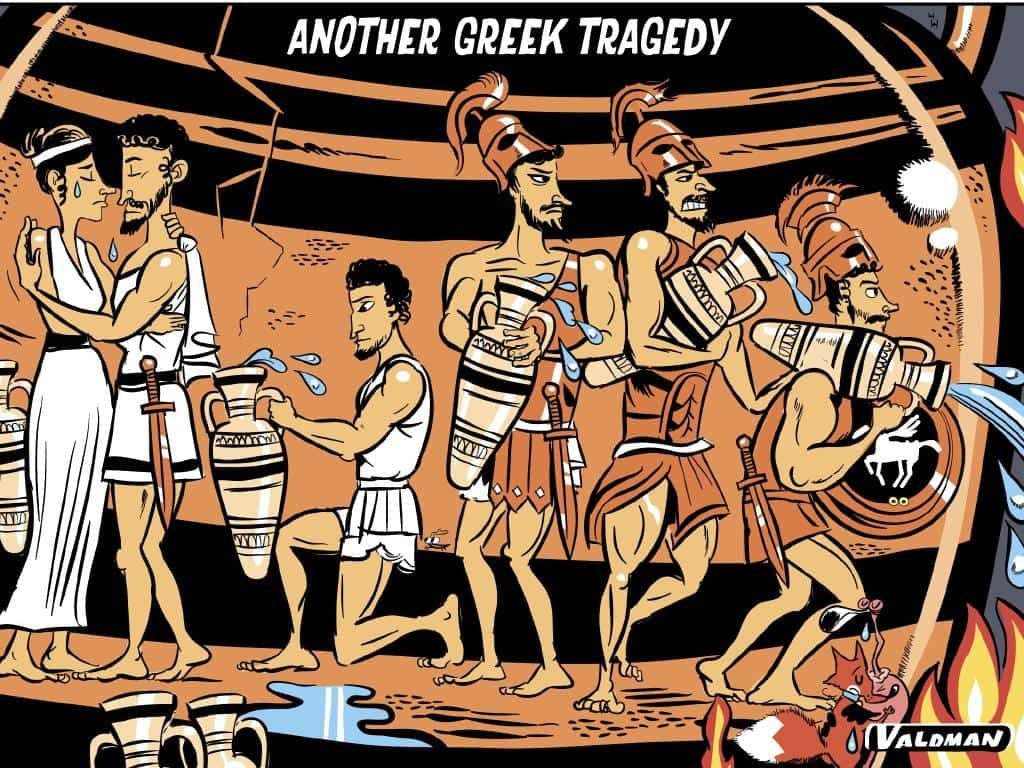 Insensitive Greek Fire Tragedy cartoon printed in Australian Newspaper 2