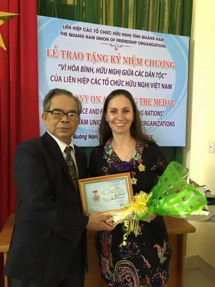 Anna Papoutsakis receiving Red Cross award
