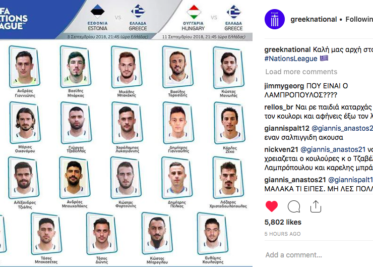 The Greek National Football Team announce their squad for the upcoming UEFA Nations League 1