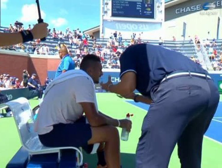 Nick Kyrgios in spotlight again for receiving pep talk from umpire 22