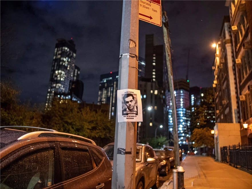 """Greek Americans place """"Tsipras is not welcome in New York"""" posters all around the city 9"""