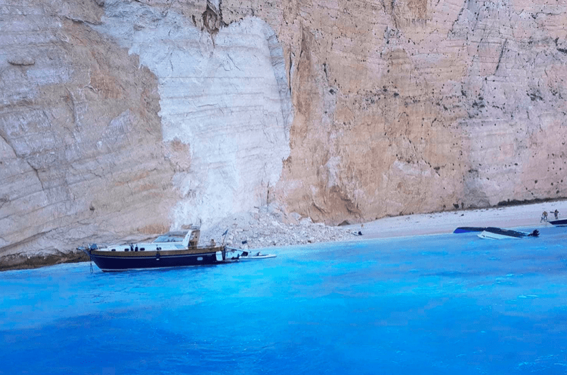 Tourists Flee In Terror As Cliff Collapses At Iconic Greek Beach