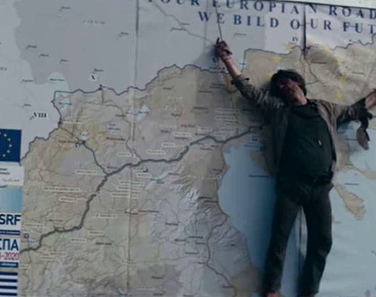 Skopje film accuses Greece of 'ethnic cleansing' of its people, using image of man Crucified on Greek map  1