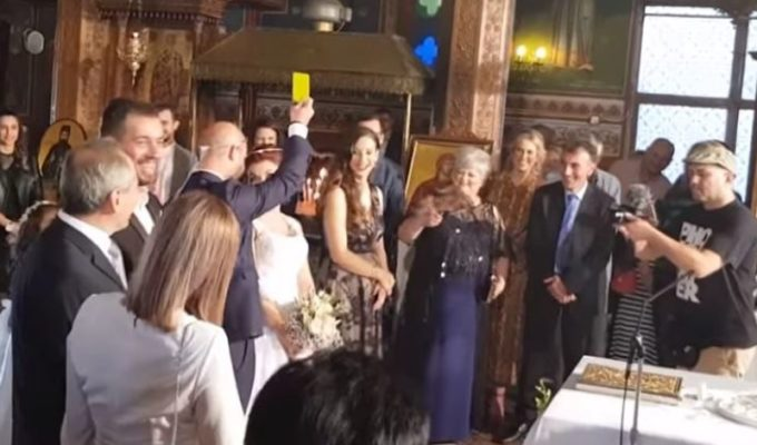 Groom gives Bride yellow card for stepping on his foot during wedding service 33