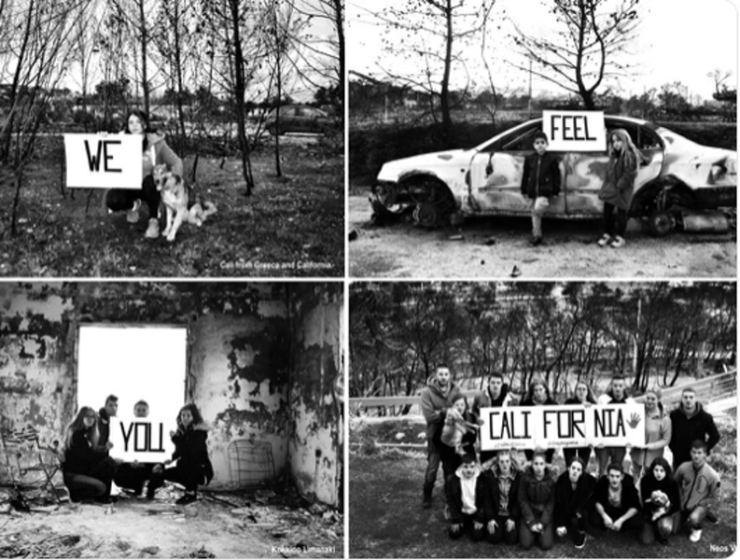 Young people from Mati send touching message to wildfire victims of California 12