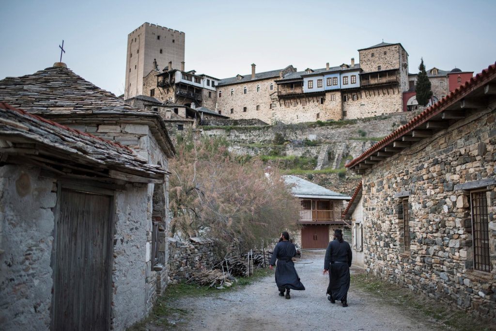 Monks walking Through the Streets of Mount Athos