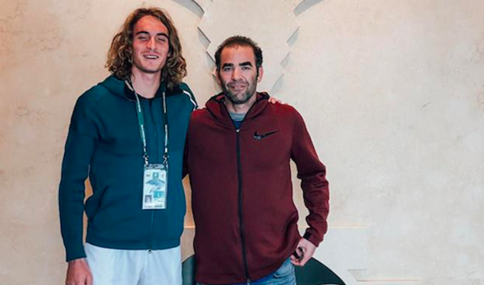 Greece's tennis star Tsitsipas finally meets his idol Greek American tennis legend Pete Sampras
