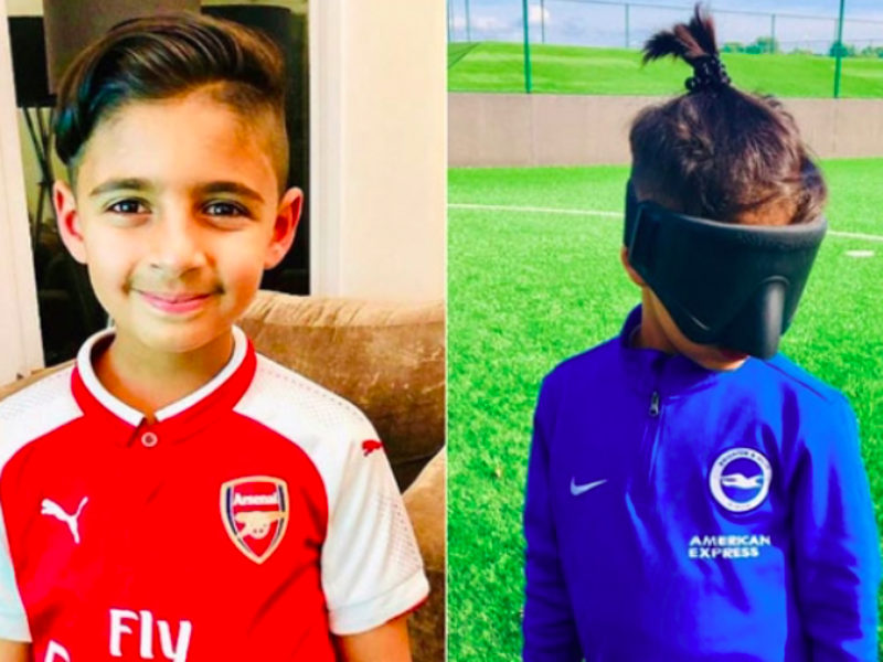 Brave young boy follows his dream of playing soccer despite losing his eyesight 1
