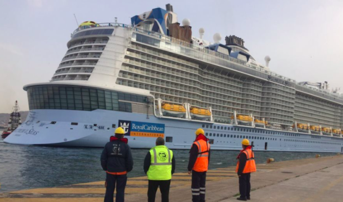 One of the world's largest cruise ships sails into Piraeus, Athens 2