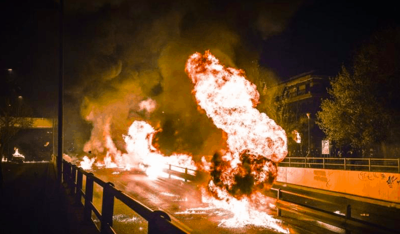 Anastasi celebrated with Molotovs and Fire in Neos Kosmos, Athens 1