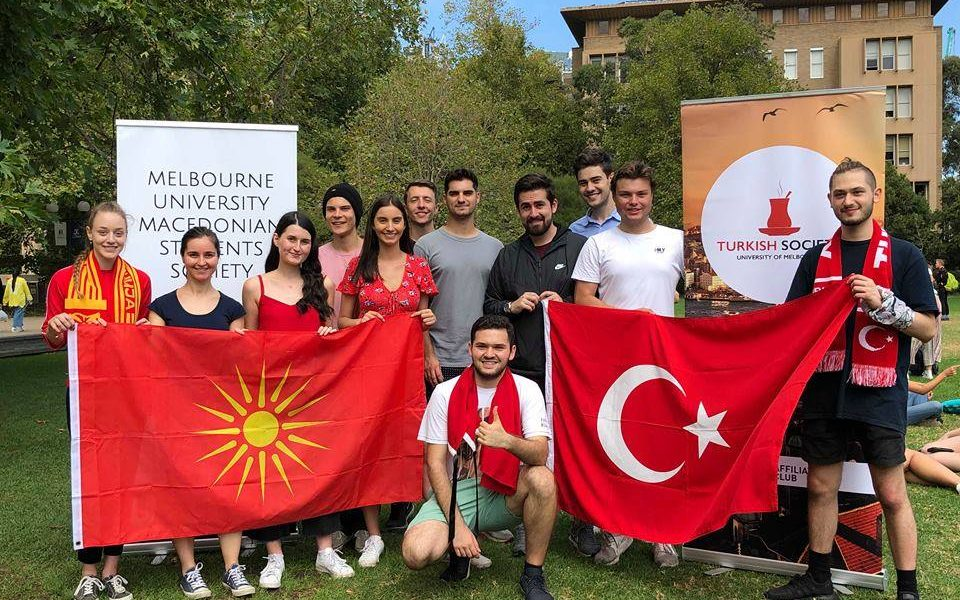Skopje students using Vergina star and 'Macedonia' name, pose alongside Turkish students 35