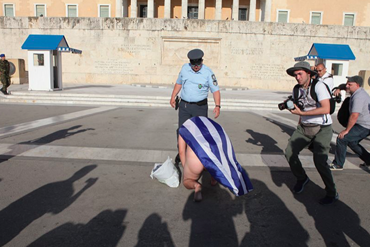 Naked man parades around Tomb of Unknown Soldier during Athens Pride 2019 11