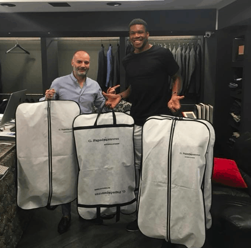 Giannis asks designer to line all his blazers with Ancient Greek images 6