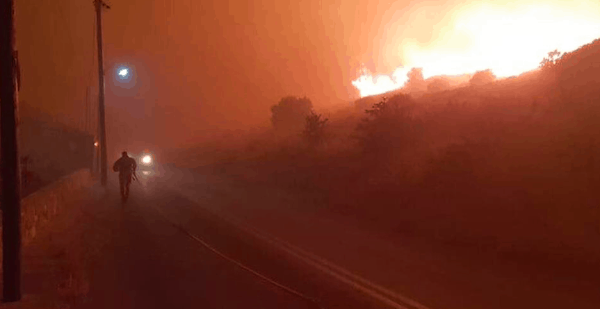 Huge wildfire rages on island of Evia 2