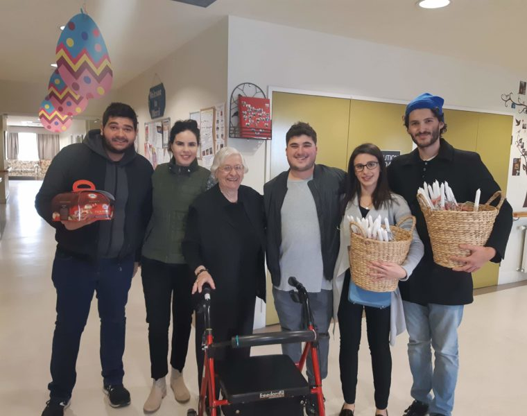 Young Greek Australians visit residents at Fronditha Thornbury on Easter Saturday 3