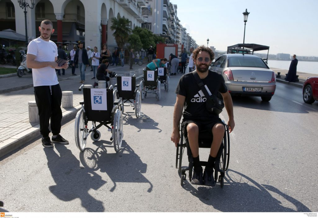 Greek Paralympian sets up protest in heart of Thessaloniki, sending