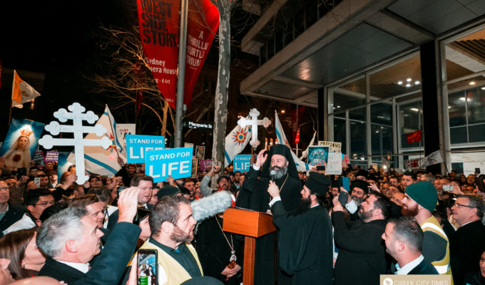 Archbishop Makarios, Primate of the Orthodox Church of Australia address the crowd at anti-abortion rally in Sydney 2