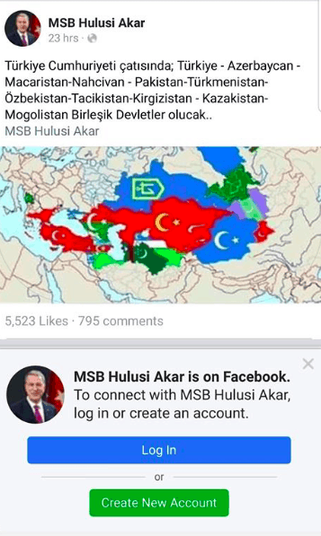Fan page of Defence Minister Akar posts map of Turkey that includes parts of Greece and entire Cyprus 5