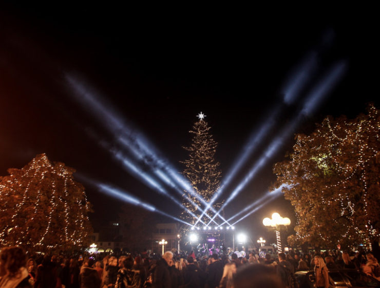 Greece's tallest natural Christmas tree lights up in Trikala for 2019 3