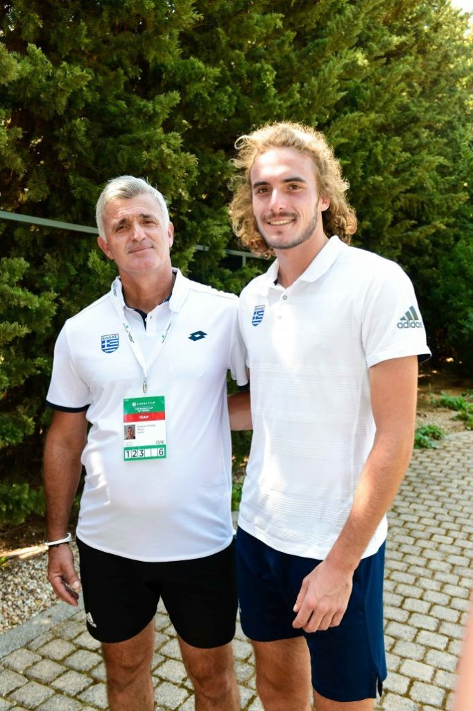 *Stefanos has a very close relationship with his father who is also his coach