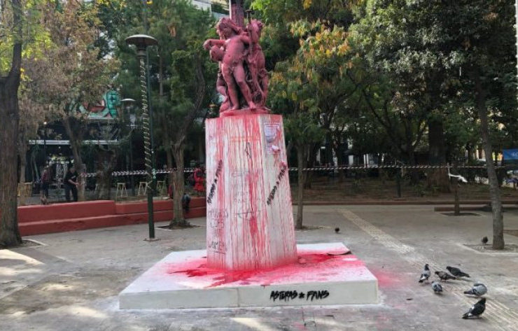 Vandals graffiti around Exarchia Square after major clean up 1