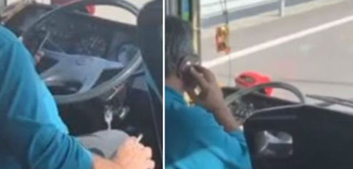 Greek bus driver refuses to stop smoking and talking on mobile 1