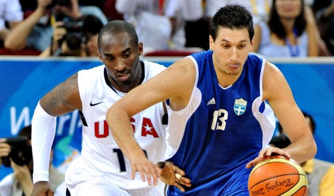 Dimitris Diamantidis and Kobe Bryant