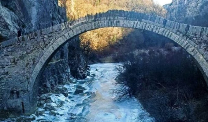 Epirus frozen river