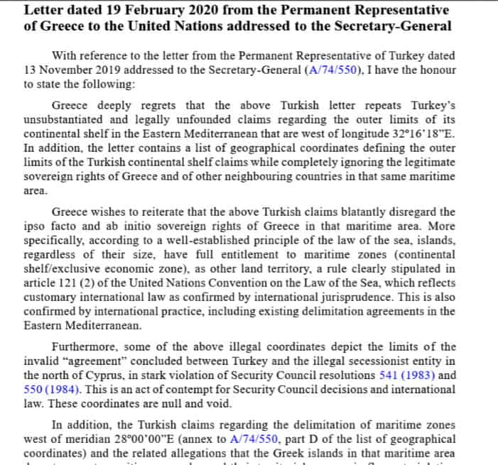 Letter to Un from Greece