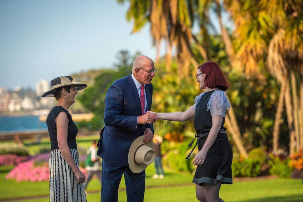 Lysicrates Prize Event winning playwright Brooke Robinson is congratulated by Australia's Governor General, His Excellency Gen. David Hurley and his wife, Her Excellency Mrs Linda Hurley, Patron of the Lysicrates Foundation