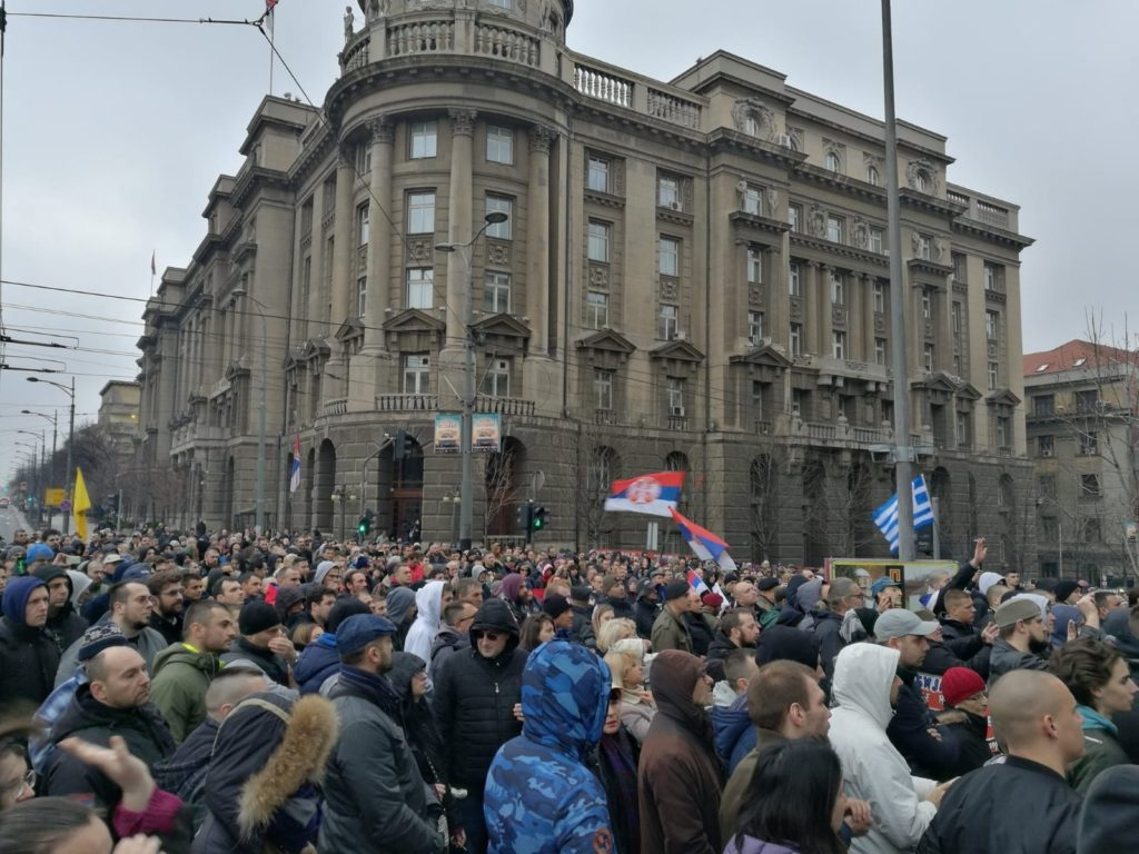 Serbia migrant rally
