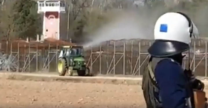 Greek farmer sprays illegal migrants at the Greek border