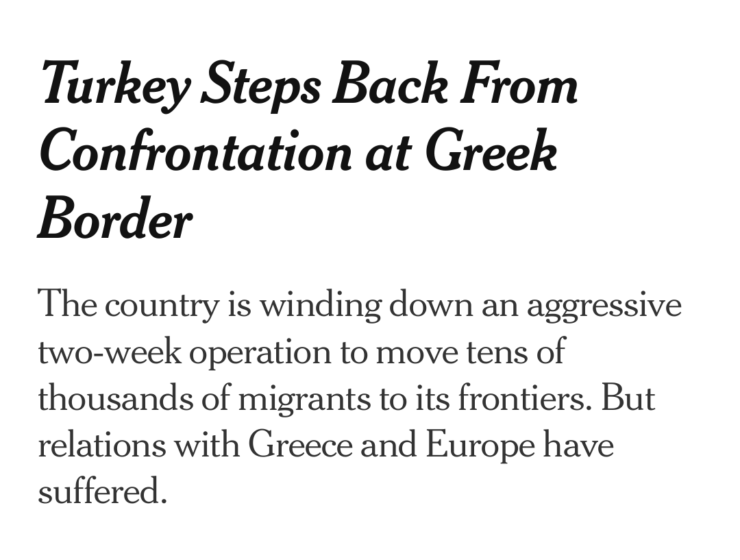 NYT report that Turkey is moving migrants from Greek border 9
