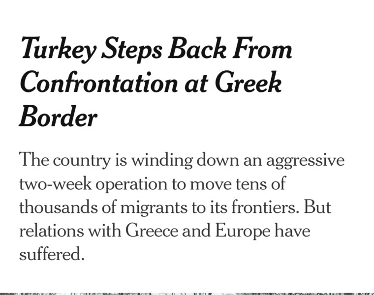 NYT report that Turkey is moving migrants from Greek border 1