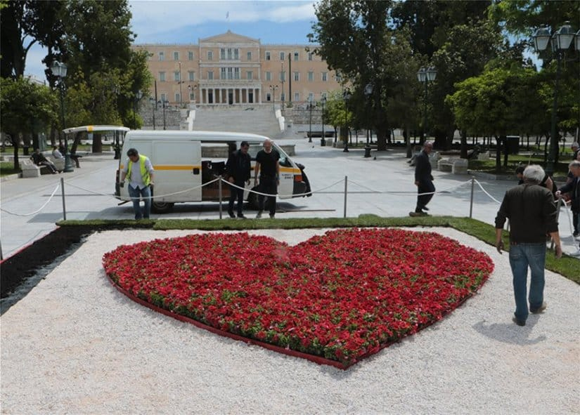 A heart of flowers in the centre of Syntagma Square
