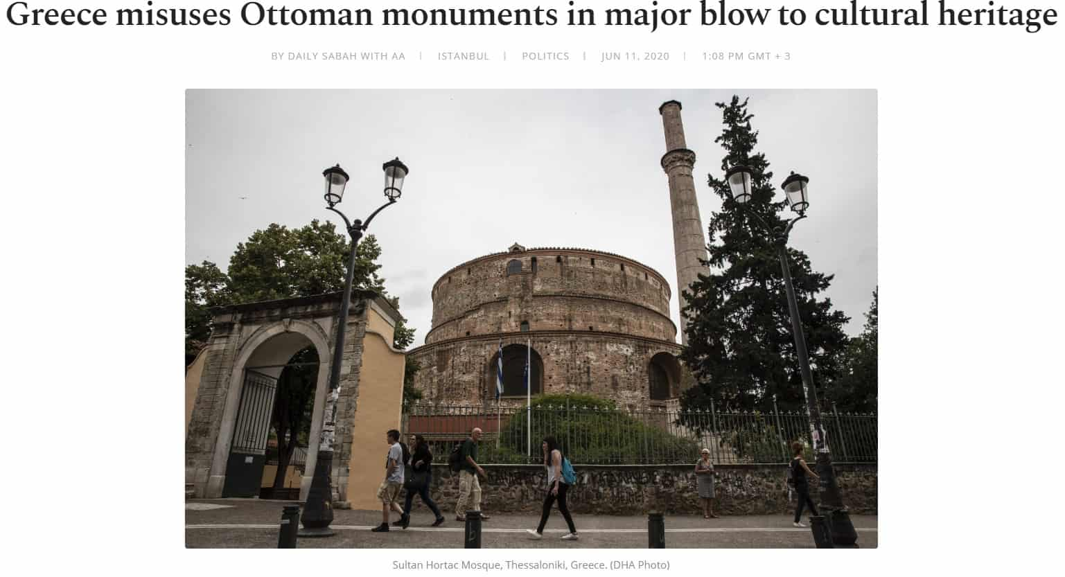 Turkish daily says ancient site in Thessaloniki built 300 years before Mohammed is a mosque 4