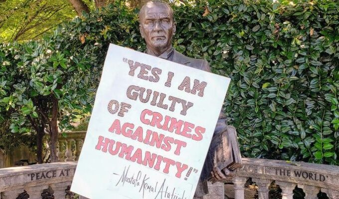 """""""Yes, I am guilty of crimes against humanity!"""" appears on statue of Atatürk 2"""
