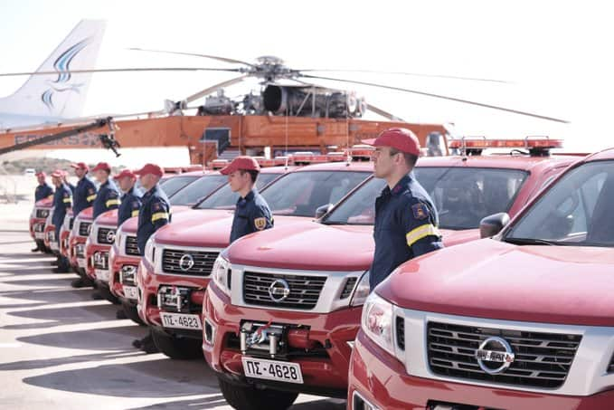 Delivery of new, donated fire trucks at Athens airport