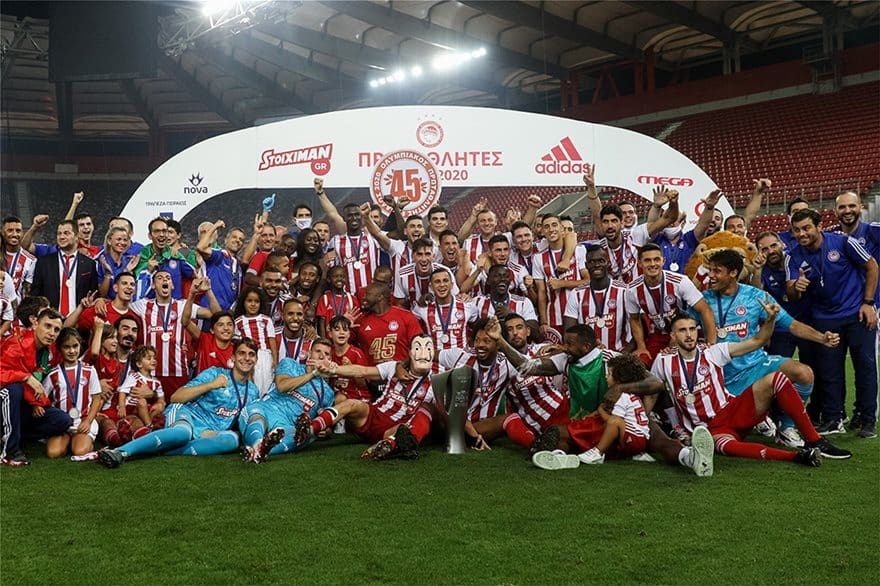 Olympiacos celebrate their 45th Greek Super League title