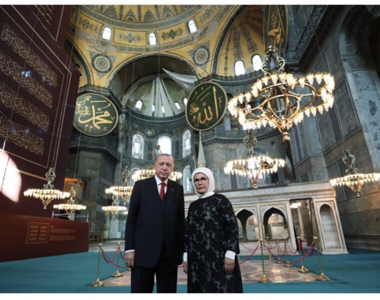 Turkish President visits Hagia Sophia before first Friday prayers