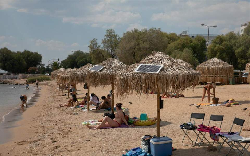 Solar charges installed at beach in Athens